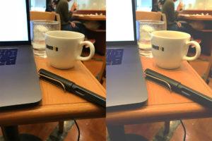 パソコン・ペン・コーヒーカップの写真(比較)