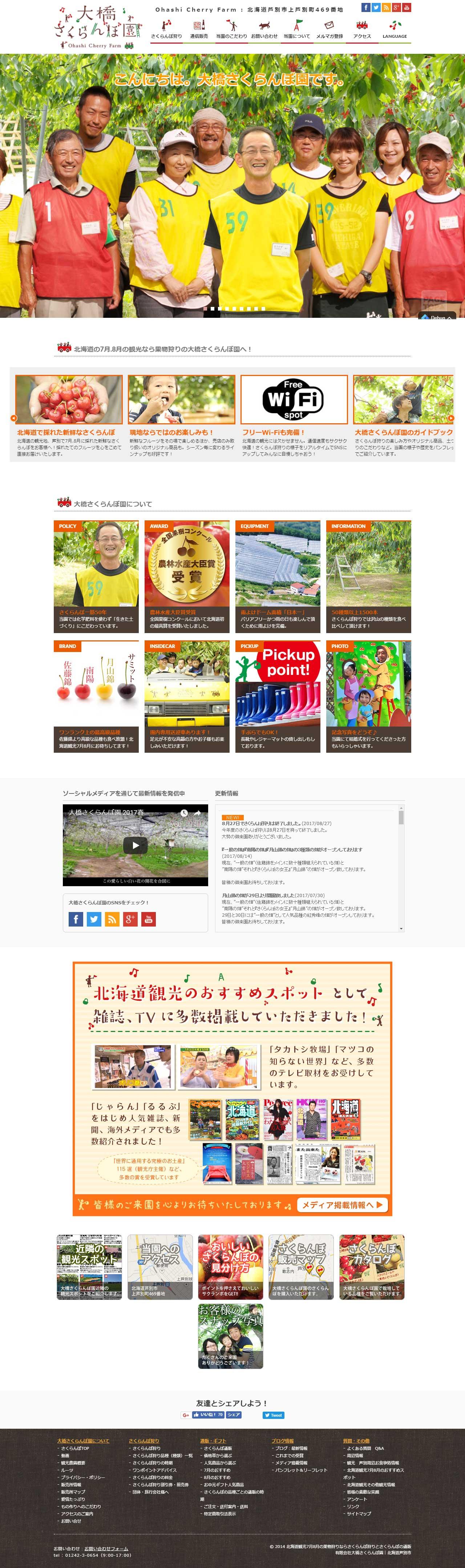 7月8月にさくらんぼ狩り北海道観光