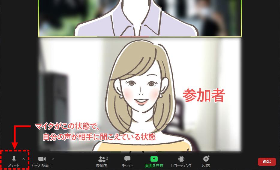Zoomミーティング画面 マイクがミュート解除となり自分の声が相手に聞こえている状態