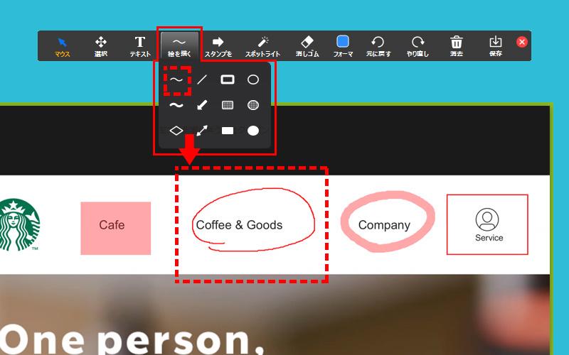 Zoom(PC)画面共有時のメニューバー「コメントを付ける」詳細メニュー「絵を描く」線の太さが細いパターン